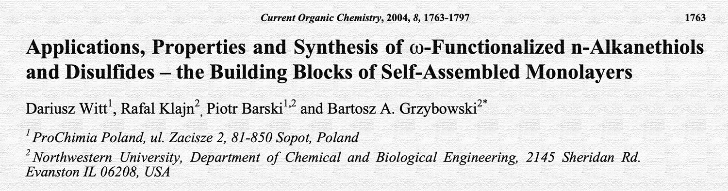 Picture of publication: Applications, Properties, and Synthesis of ω-Functionalized n-Alkanethiols and Disulfides – the Building Blocks of Self-Assembled Monolayers