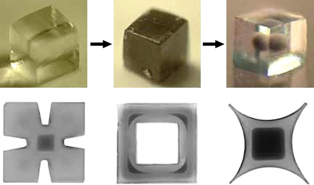 """Picture of publication: """"Remote"""" Fabrication via Three-Dimensional Reaction-Diffusion: Making Complex Core-and-Shell Particles and Assembling Them into Open-Lattice Crystals"""