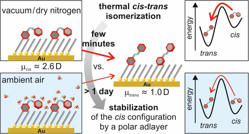Picture of publication: Differing Isomerization Kinetics of Azobenzene-Functionalized Self-Assembled Monolayers in Ambient Air and in Vacuum