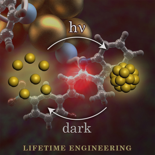 Picture of publication: Controlling the lifetimes of dynamic nanoparticle aggregates by spiropyran functionalization