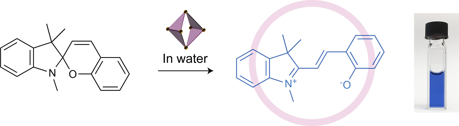 Picture of publication: Reversible chromism of spiropyran in the cavity of a flexible coordination cage